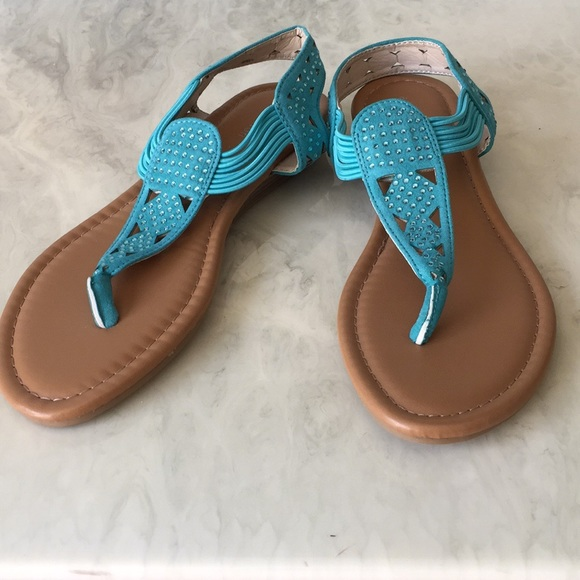 5f3432b9dc21 attention Shoes - Turquoise Slip On Rhinestone Thong Sandals